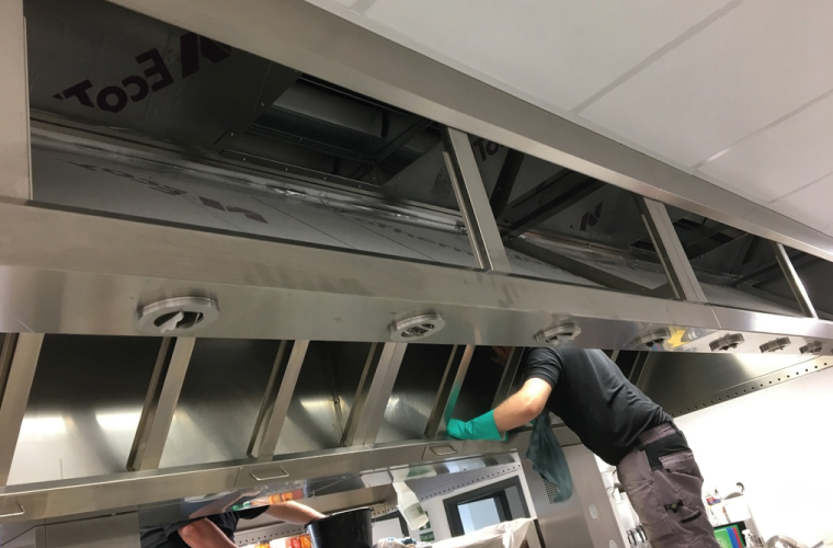 School Kitchen Deep Cleaning in Dorset, Hampshire, Wiltshire. Extraction ducting, fans, canopies, appliances deep clean service.